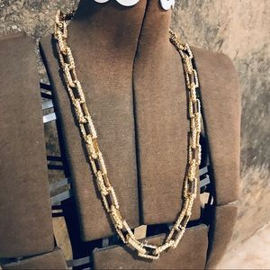 Vintage nautical rope chain gold tone necklace